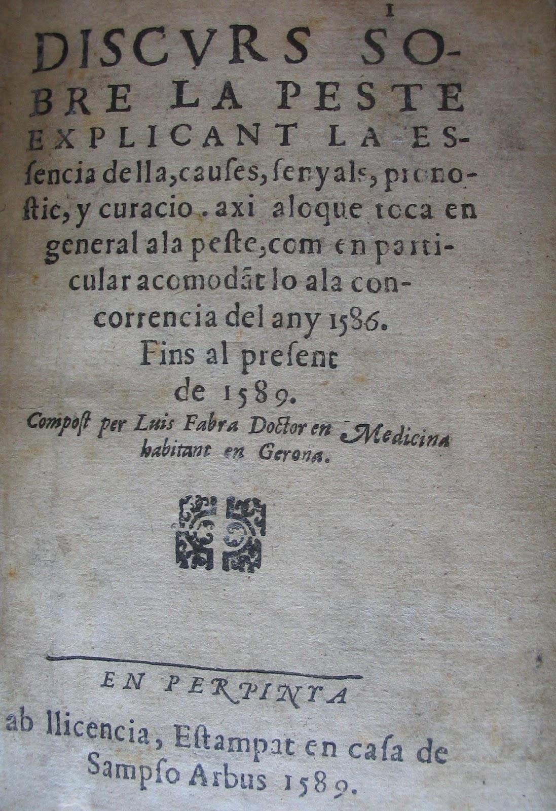 01. Obra de Lluís Fabra sobre la peste (Biblioteca del Palau de Peralada)